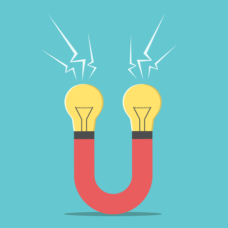 magnet: Magnet with light bulbs. Creativity, business success, innovation, invention concept. EPS 8 vector illustration, no transparency Illustration