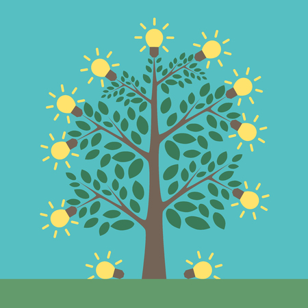 breakthrough: Tree of creative ideas with shining yellow lightbulbs on it and under it. Insight, inspiration, idea, invention and breakthrough concept. Flat style. EPS 8 vector illustration, no transparency Illustration