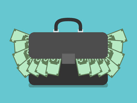 style wealth: Black briefcase stuffed with dollars. Suitcase full of money. Flat style. Wealth, success, investment, business concept. EPS 8 vector illustration, no transparency Illustration