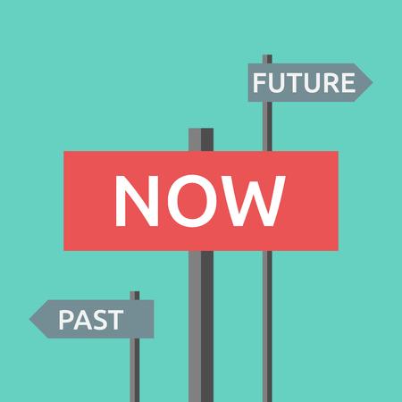 Las señales de tráfico con las palabras ahora, pasados ??y futuros. Centrarse en la actualidad, la vida, el destino, la armonía, la motivación, el éxito, la concentración, el envejecimiento concepto. EPS 8 vector ilustración, sin transparencia