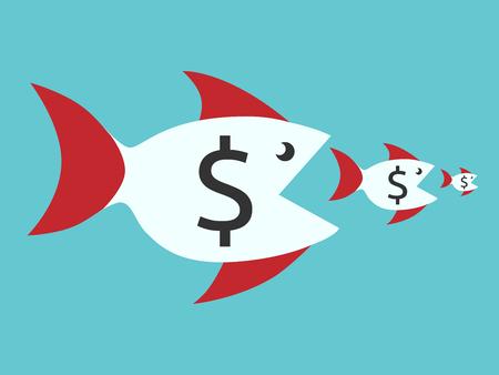 monopoly: Peces con signos de dólar que comen los más pequeños. cadena alimentaria, las finanzas, el dinero, la competencia, la fusión, los negocios, el concepto de monopolio. EPS 8 vector ilustración, sin transparencia