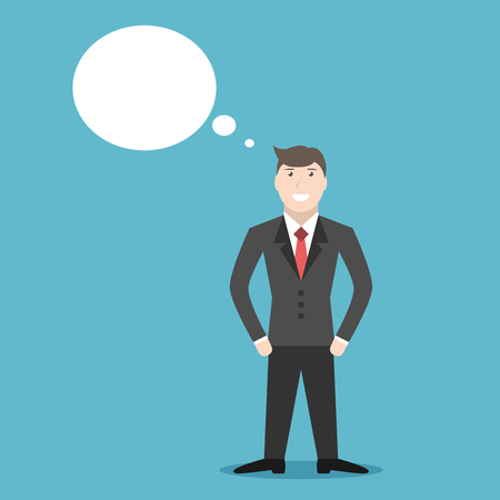 eps 8: Confident young positive thinking or dreaming businessman character. Business, success, job, professional, management, career concept. EPS 8 vector illustration, no transparency