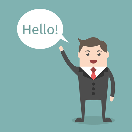 eps 8: Successful young businessman character saying hello with speech bubble, front view. Business, job, professional, consultant concept. EPS 8 vector illustration, no transparency