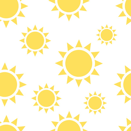 eps 8: Beautiful yellow suns seamless pattern on white background. Textile, package, wrapping texture. Repeatable tiles. EPS 8 vector illustration, no transparency