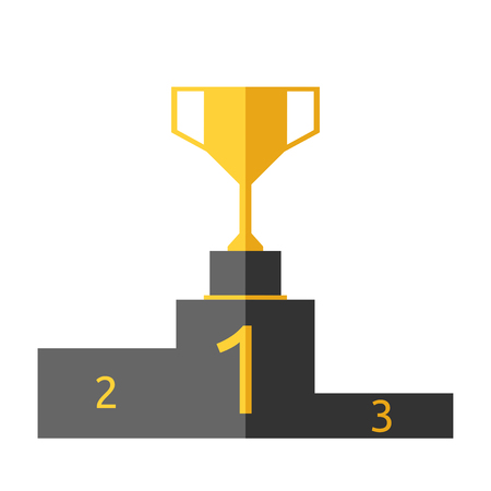 eps 8: Golden goblet on victory pedestal isolated on white background. Gold trophy on sports podium. Champion cup. Award, triumph, goal, success concept. EPS 8 vector illustration, no transparency