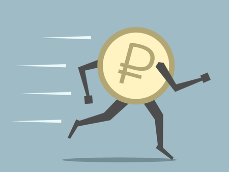 outflow: Russian ruble coin running. Money, finance, currency, economic, savings, investment, exchange rate, panic, crisis, cash outflow concept. EPS 8 vector illustration, no transparency