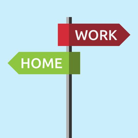 eps 8: Road sign showing directions to work and home. Job, stress, harmony, relaxation, family, time management concept. EPS 8 vector illustration, no transparency Illustration