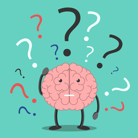Confused brain character scratching head in bewilderment and many question marks. Confusion, trouble, memory, problem, task, solution concept. EPS 8 vector illustration, no transparency Çizim