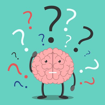 Verward hersenen karakter krassen hoofd in verbijstering en veel vraagtekens. Verwarring, problemen, geheugen, probleem, taak, oplossing concept. EPS 8 vector illustratie, geen transparantie