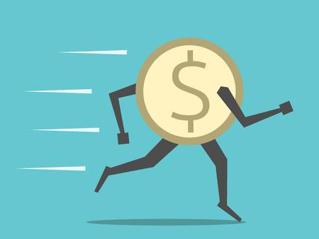 Dollar munt snel aan de slag. Geld, financiën, munt, economisch, sparen, beleggen, wisselkoers, paniek, crisis, rally concept.