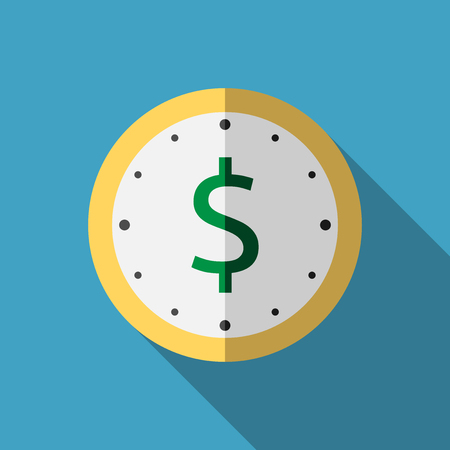 Golden clock with green dollar sign on its dial. Flat style icon with long shadow on blue background. Time, money, finance, business concept.