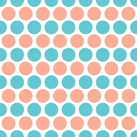 spot the difference: Blue and orange circles rows seamless pattern isolated on white. Colorful repeating tiles.