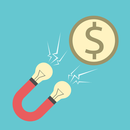 innovative concept: Innovative magnet with light bulbs attracting dollar coin. Creativity, money, investment, finance, investor, startup, business success concept.