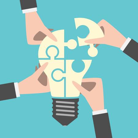 Vier handen samen te stellen gloeilamp vormige puzzel. Teamwork, team, idee, zakelijk, oplossing, creativiteit concept. Vlakke stijl.