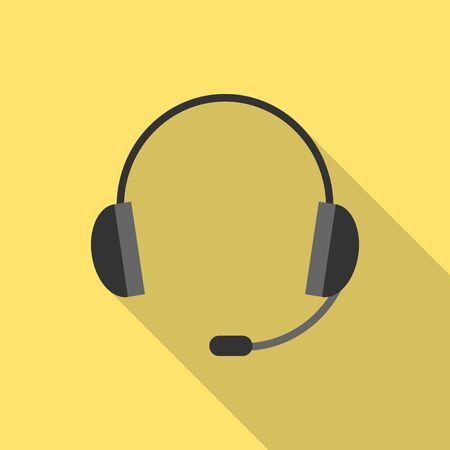 earpieces: Black headset with long shadow on yellow background. Flat style. Headphones with microphone. Simple earpieces.