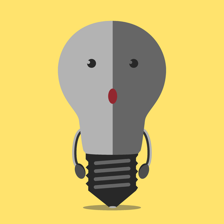Turned off burned dull gray light bulb character on yellow. Light bulb, idea, creativity, crisis, power outage, failure, energy concept. Vettoriali