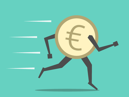 유로 동전을 실행합니다. 돈, 금융, 통화, 경제, 저축, 투자, 환율, 공황, 위기, 현금 유출 개념.
