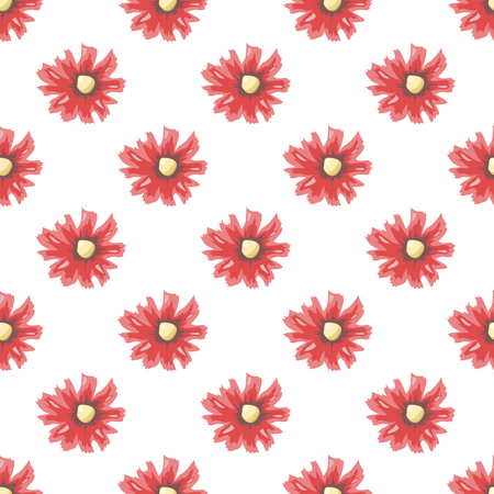 girl in red dress: Beautiful red flowers seamless pattern. Repeatable tiles. May be used for wallpaper, textile, wrapping, package, clothes, dress.
