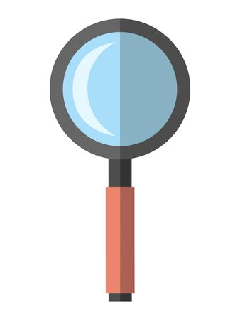 Magnifying glass isolated on white background. Flat style. Search, analysis, science, research concept.