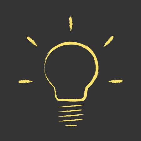 Yellow glowing hand drawn light bulb on black background. Idea, creativity, insight, innovation, technology, aha moment concept.