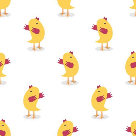 작은 노란색 닭 원활한 패턴 화이트 절연. 섬유, 포장, 벽지 사용. 농장, 동물, 부활절 개념입니다.
