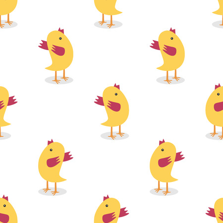 Little yellow chickens seamless pattern isolated on white. Textile, wrapping, wallpaper use. Farm, animal, Easter concept. Vettoriali
