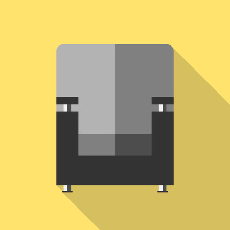 comfort: Black armchair icon, front view, yellow background. Flat style with long shadows. Home, rest, comfort concept.