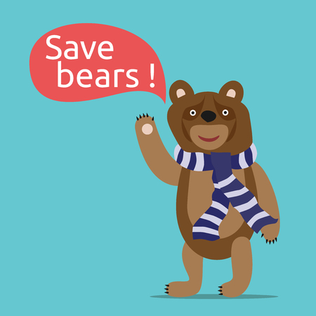 save environment: Sad smiling toy brown bear saying save bears in speech bubble. Environment, nature, animal and ecology concept. Illustration
