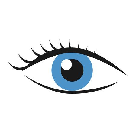 Blue eye with eyelashes isolated on white. Health, eyesight, search, vision concept.