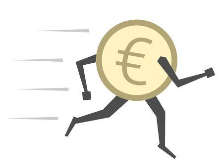 유로 동전 캐릭터에 격리 된 흰색을 실행합니다. 돈, 금융, 통화, 저축, 투자, 환율, 공황, 위기 개념.