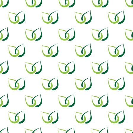 green environment: Two stylized green leaves seamless pattern. Repeatable tiles texture. Tea, ecology, nature, environment and healthy lifestyle concept. Illustration