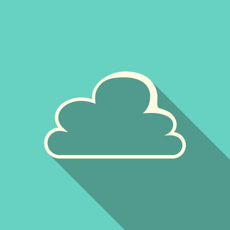 yellowish: Cloud icon with long shadow on turquoise blue background. Flat design.