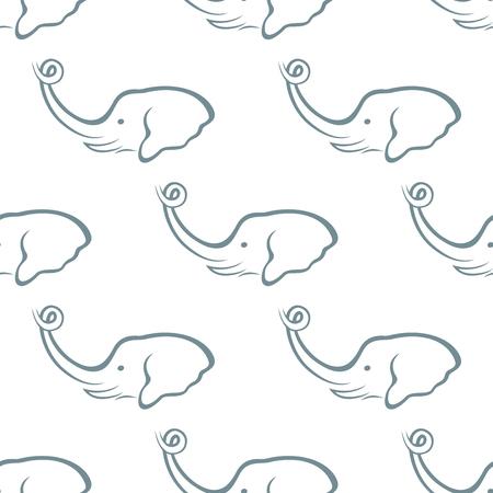 repeatable texture: Beautiful elephant head seamless pattern isolated on white background. Stylish repeatable texture. Illustration