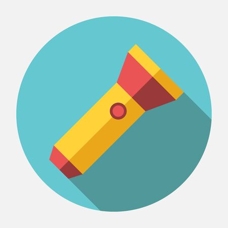 pocket flashlight: Yellow and red flashlight with long shadow. Pocket electrical torch. Flat style icon. Illustration