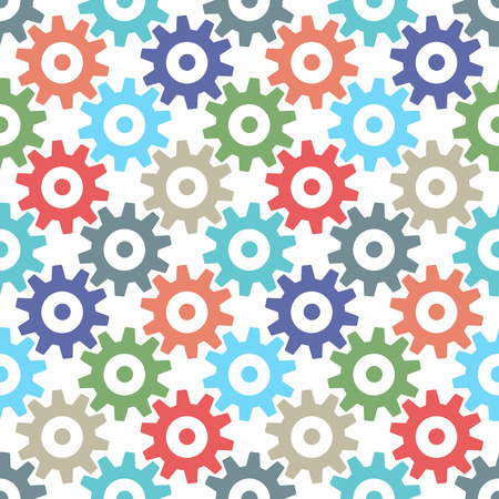 multi colors: Multi color gear wheels seamless pattern isolated on white. Cogs of various colors repeating tiles. Illustration