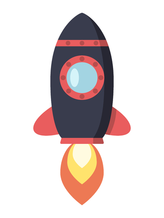 illuminator: Dark flying rocket with red fin and big porthole. Space, exploration, startup, launch, start, business concept.