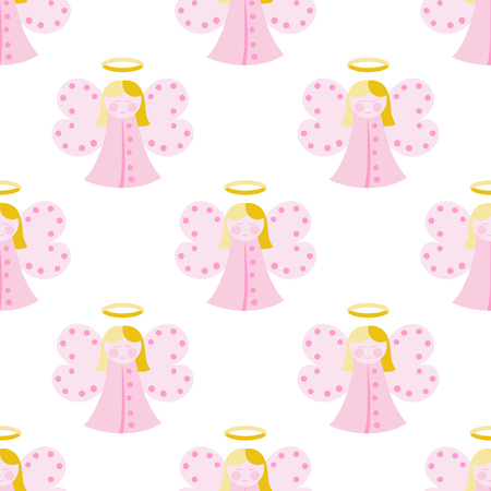 Cute angel in pink clothes seamless pattern isolated on white. Textile, wallpaper use. Repeatable tiles.