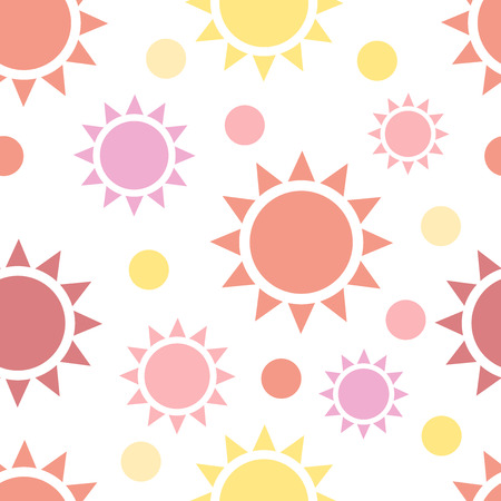 multi color: Multi color suns seamless pattern on white. Star shapes background. Textile, package, wrapping texture. Repeatable tiles.