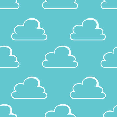 repeatable texture: Beautiful stylish white clouds on blue background seamless pattern. Repeatable texture.