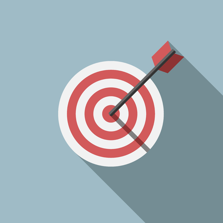Red and white target and arrow on gray background with long shadow. Flat style. Success, goal, aim, market concept.