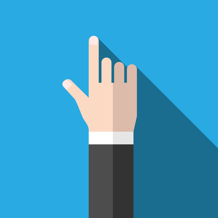 Hand with index finger pointing at something. Flat design icon with long shadow on blue background.