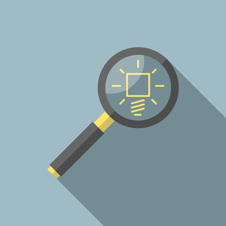 insight: Magnifying glass analyzing yellow glowing light bulb. Flat style icon with long shadow. Creativity, innovation, science, invention, insight, search concept. Illustration