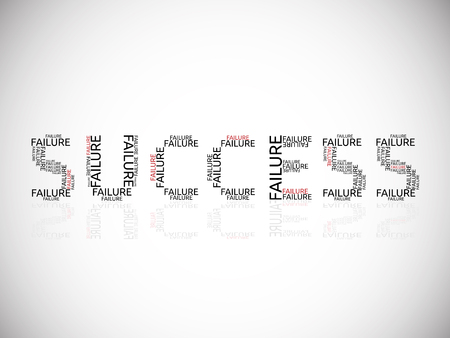 El éxito construido en los fracasos. Meta, propósito, el entusiasmo, la motivación, la inspiración, el concepto de éxito. Ilustración de vector