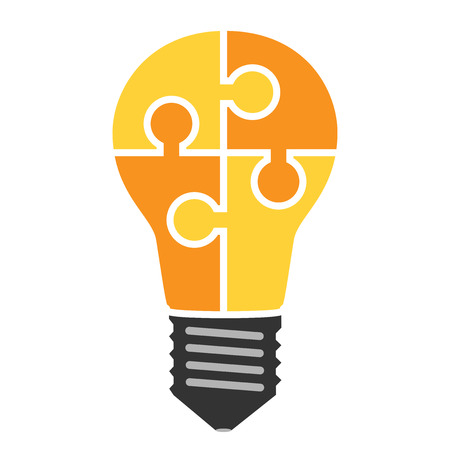 Yellow light bulb consisting of puzzle pieces isolated. Idea, business, solution, work, insight, brainstorm concept. Flat style.
