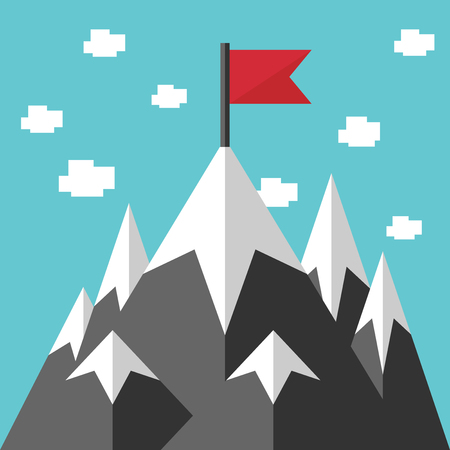 ambition: High mountains and red flag on ice peak. Flat style. Mission, success, goal, purpose, dream, achievement, career, ambition concept.