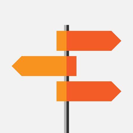 Astratto brillante direzione arancione percorso segno isolato. Vuotare cartello bianco su strada. Scelta, viaggiare, concetto di strada. stile piatto.