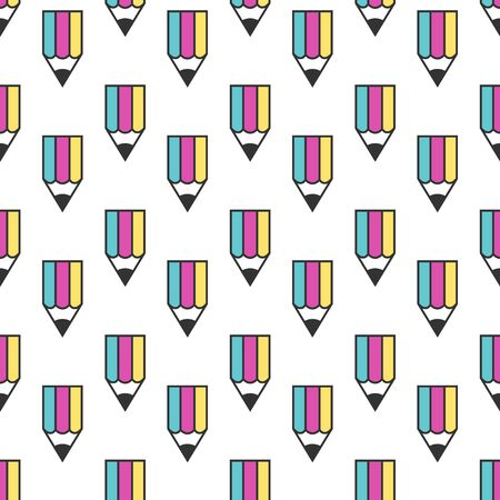 Multicolor pencil with CMYK colors seamless pattern isolated on white. Print, office, printer, design, creativity and graphic concept.