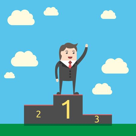 triumphant: Happy triumphant businessman standing on pedestal on sky background. Man waving hand on victory podium.