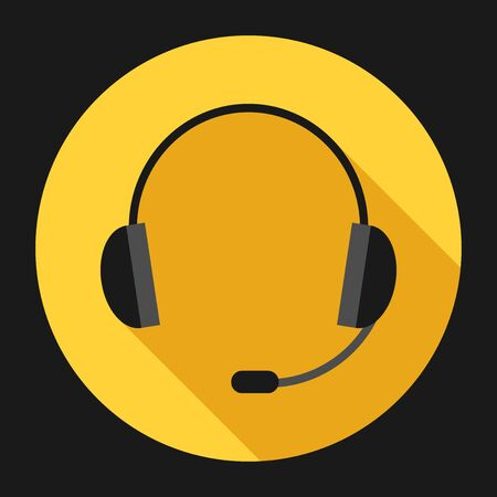 audio equipment: Headset icon with long shadow on bright background. Headphones with microphone. Communication, call center, audio equipment concept. Illustration