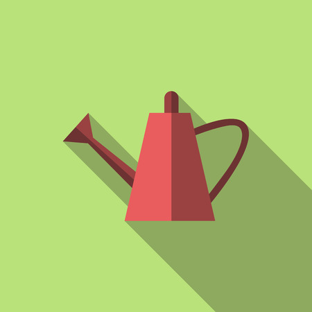 bailer: Red watering can on green background with long shadow. Flat style bailer icon. Gardening, spring, summer concept